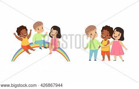 Happy Kids Sitting On Rainbow, Friendship, Unity, Earth Planet Protection Cartoon Vector Illustratio