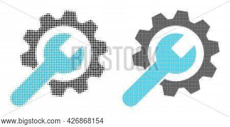 Pixelated Halftone Repair Service Icon. Vector Halftone Concept Of Repair Service Icon Composed With