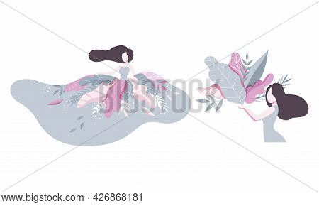 Beautiful Brunette Women With Flowers, Girl In Long Dress Decorated With Flowers Vector Illustration