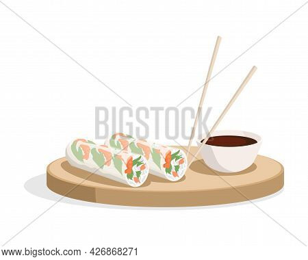 Spring Rolls And Soy Sauce With Chopsticks On The Plate Vector Flat Illustration Isolated On White.