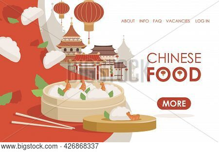 Chinese Food Vector Flat Landing Page Template With Text Space. Building And Red Lanterns In Traditi