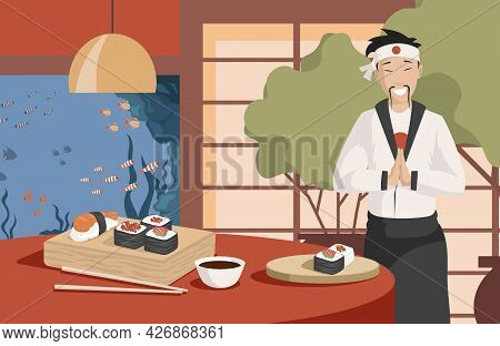 Healthy And Tasty Japanese Food Vector Flat Illustration. Japan Chef Making Sushi In Restaurant. Dif