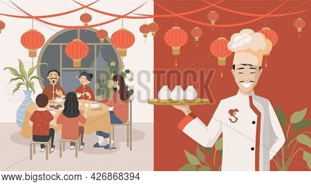 Group Of Happy People Eating In Chinese Restaurant Vector Flat Illustration. Smiling Chef Holding Pl