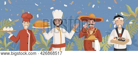 Chefs In National Clothes Vector Flat Illustration. Chinese, Indian, Mexican, And Japanese Cuisines.