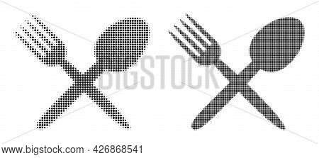 Dot Halftone Fork And Spoon Icon. Vector Halftone Mosaic Of Fork And Spoon Icon Combined Of Spheric