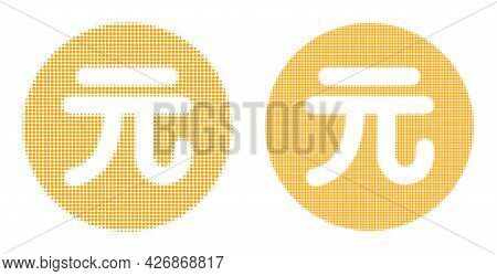 Pixelated Halftone Chinese Yuan Coin Icon. Vector Halftone Concept Of Chinese Yuan Coin Icon Designe