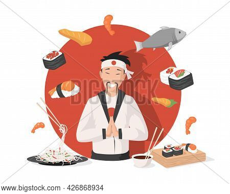 Smiling Chef In Traditional Japanese Kimono Vector Flat Illustration. Delicious Japanese Cuisine, Su