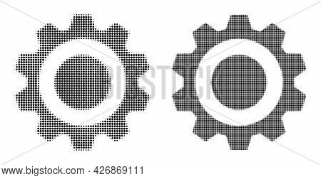 Dot Halftone Gear Icon. Vector Halftone Mosaic Of Gear Icon Made Of Round Elements.
