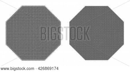 Pixel Halftone Octagon Icon. Vector Halftone Pattern Of Octagon Icon Combined With Circle Items.