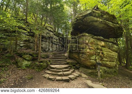 Ccc Stairway On A Wilderness Trail In Cuyahoga Valley National Park In Ohio