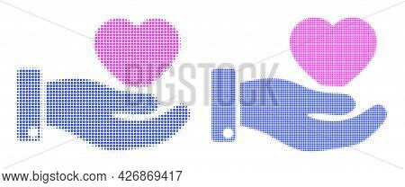 Dot Halftone Favourite Heart Offer Hand Icon. Vector Halftone Concept Of Favourite Heart Offer Hand