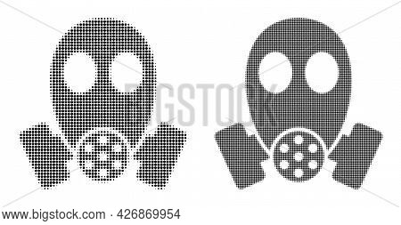 Pixelated Halftone Gas Mask Icon. Vector Halftone Concept Of Gas Mask Icon Organized Of Spheric Pixe