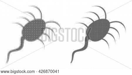 Dot Halftone Infection Microbe Icon. Vector Halftone Pattern Of Infection Microbe Icon Formed Of Cir