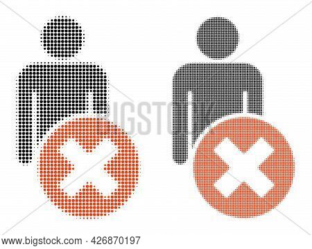 Pixel Halftone Delete Man Icon. Vector Halftone Mosaic Of Delete Man Icon Organized Of Spheric Pixel