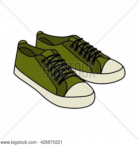 Sneakers. Doodle Style Icon. Vector Illustration For Poster, Banner, Background, Card, Invitation, P