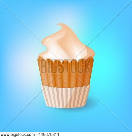 Creamy Brulee Cupcake Poster On Blue Background With Copy Space