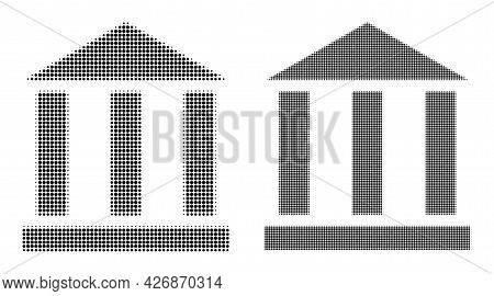 Dotted Halftone Library Building Icon. Vector Halftone Mosaic Of Library Building Icon Created Of Ro
