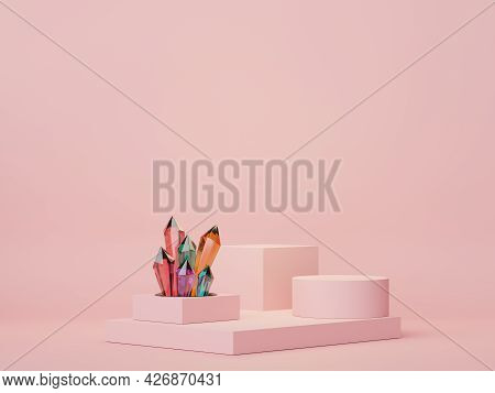 3d Render Of Minimal Display Podium Design For Mock Up And Product Presentation With Crystal. Pedest