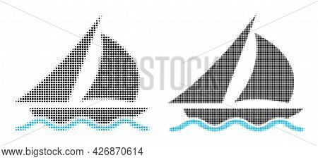 Pixelated Halftone Sailing Icon. Vector Halftone Mosaic Of Sailing Icon Made Of Round Elements.