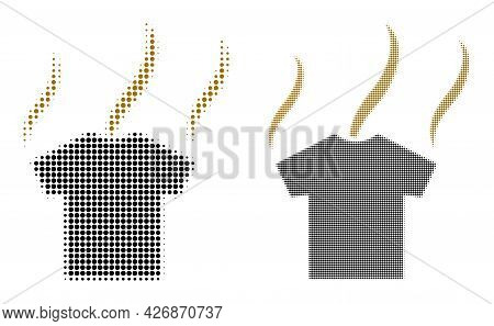 Pixel Halftone Smell T-shirt Icon. Vector Halftone Pattern Of Smell T-shirt Icon Made Of Circle Pixe