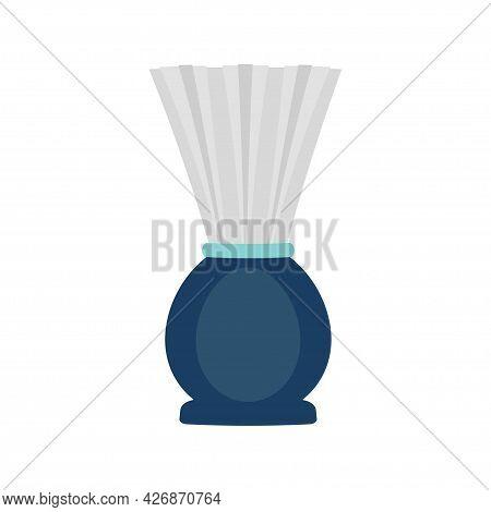 Shaving Brush Icon, Cartoon Shaving Brush Isolated On White Background, Flat Design