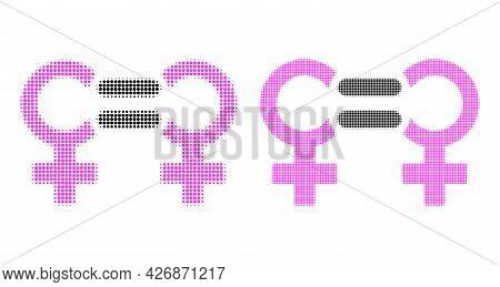Pixel Halftone Lesbian Relation Symbol Icon. Vector Halftone Concept Of Lesbian Relation Symbol Pict