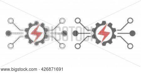 Pixelated Halftone Energy Hitech Icon. Vector Halftone Mosaic Of Energy Hitech Icon Done Of Spheric