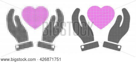 Dotted Halftone Valentine Heart Care Hands Icon. Vector Halftone Collage Of Valentine Heart Care Han