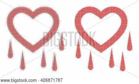 Dot Halftone Crying Heart Icon. Vector Halftone Concept Of Crying Heart Symbol Formed Of Round Point