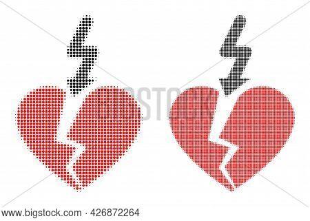Pixel Halftone Break Love Heart Icon. Vector Halftone Pattern Of Break Love Heart Icon Organized Of