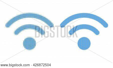 Pixel Halftone Wi-fi Source Icon. Vector Halftone Collage Of Wi-fi Source Icon Combined From Circle