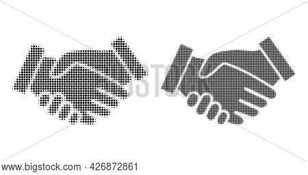 Dot Halftone Handshake Icon. Vector Halftone Pattern Of Handshake Icon Done Of Spheric Elements.
