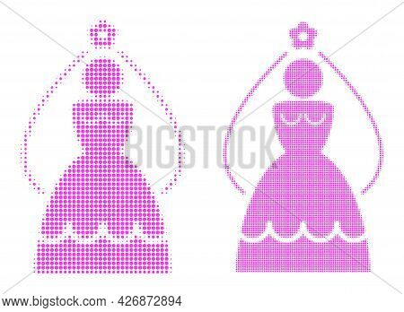 Pixelated Halftone Bride Icon. Vector Halftone Composition Of Bride Icon Combined From Round Dots.