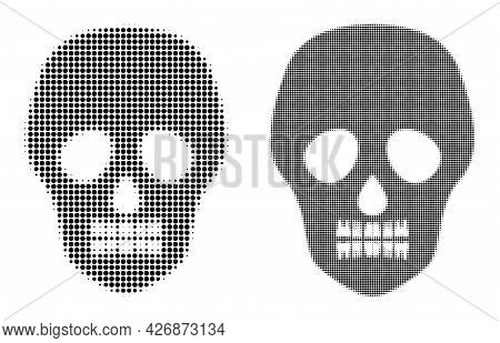 Pixel Halftone Skull Icon. Vector Halftone Pattern Of Skull Icon Made Of Spheric Points.