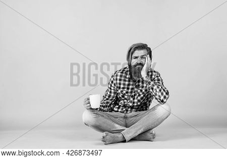 Good Morning. Morning Vibes At Home. Concept Of Inspiration. Hipster Man Drink Coffee. Handsome Bear