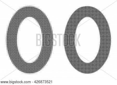 Dot Halftone Digit Zero Icon. Vector Halftone Composition Of Digit Zero Icon Organized Of Round Item
