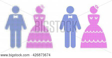 Dotted Halftone Wedding Pair Icon. Vector Halftone Mosaic Of Wedding Pair Icon Created Of Spheric Po
