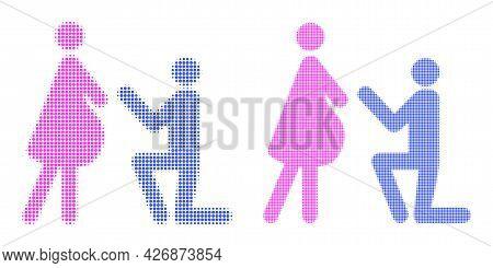 Dot Halftone Pregnant Woman Engagement Icon. Vector Halftone Pattern Of Pregnant Woman Engagement Ic