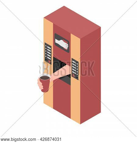 A Coffee Machine Is Dispensing Coffee. A Hand From A Coffee Vending Machine Is Holding A Paper Cup W