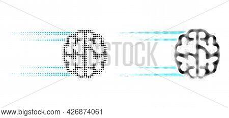 Dot Halftone Rush Brain Icon. Vector Halftone Collage Of Rush Brain Icon Organized Of Circle Element