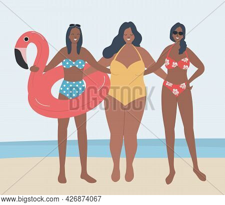 Girlfriends In Swimsuits Stand Against The Background Of The Sea. Three Young Women In Beach Suits S