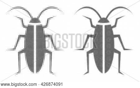 Pixel Halftone Cockroach Icon. Vector Halftone Composition Of Cockroach Icon Done From Circle Dots.