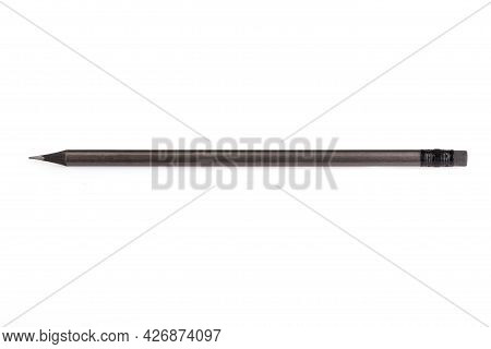 Dark Gray Ebony Pencil Isolated On White Background. A Simple Pencil With An Eraser. Office Tools. C