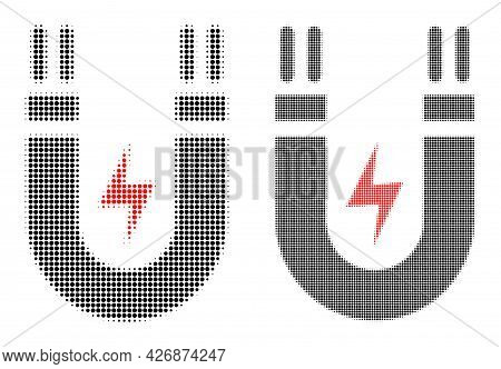 Dotted Halftone Magnetic Power Icon. Vector Halftone Collage Of Magnetic Power Icon Made Of Spheric