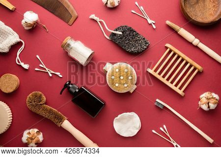 Eco Friendly And Low-waste Concept. Eco Friendly Tools For Body Care And Cleaning