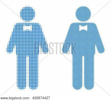 Dotted Halftone Groom Icon. Vector Halftone Collage Of Groom Icon Created Of Spheric Items.