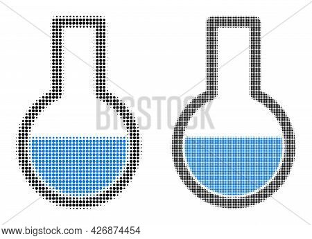 Pixel Halftone Flask Icon. Vector Halftone Concept Of Flask Icon Combined Of Circle Points.