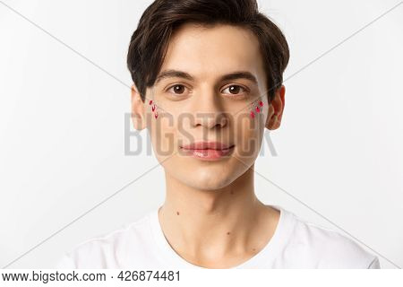 People, Lgbtq And Beauty Concept. Close-up Of Happy Queer Guy With Applied Lip Gloss And Glitter, Sm