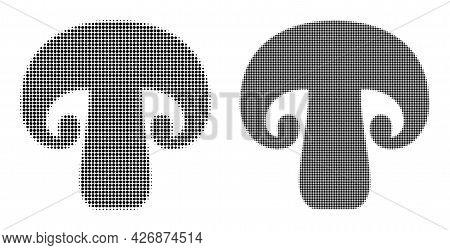 Pixelated Halftone Champignon Mushroom Icon. Vector Halftone Concept Of Champignon Mushroom Icon Mad