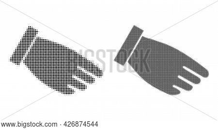 Dot Halftone Hand Palm Icon. Vector Halftone Concept Of Hand Palm Icon Organized Of Spheric Dots.